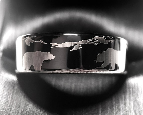 Wedding Bands Bears In Mountains Forest Landscape