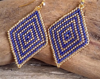 Rhombus handwoven earrings glass beads blue and gold Boho jewelry By Dodie