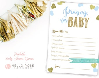 Prayers for Baby . Dear Baby Advice Card . Blue and Gold Baby Shower Printable . Instant Download . Baby Boy Shower . Baby Shower Games
