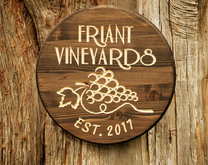Wood Anniversary Gift Wine Gift Vineyard Sign Wine 5 Year Anniversary Gifts Sign Decor Wine Winery Sign Cellar Barrel Wood Wine Sign Wine