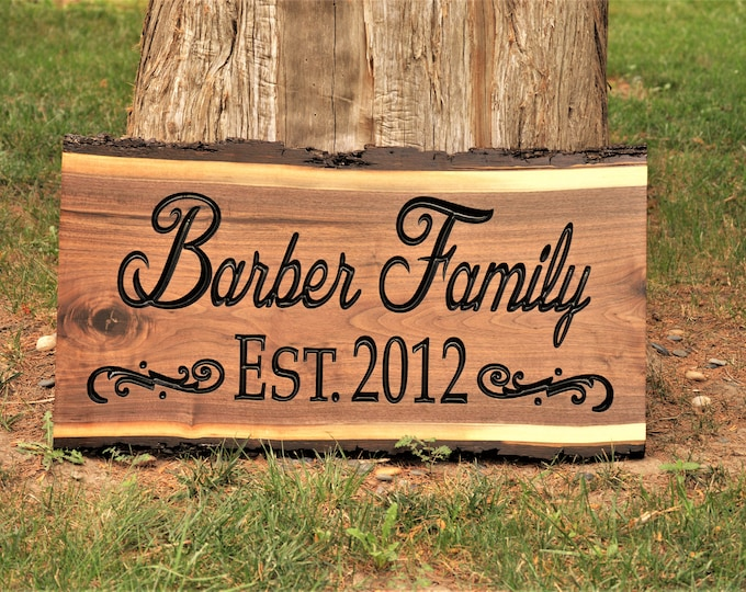 Custom Carved Wood Sign, Solid Hardwood Outdoor Sign, Last Name Family Name Sign, Personalized Wood Sign, Custom Wood Sign Carved Wood Sign