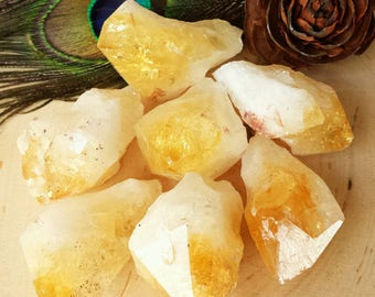 Citrine Points, Citrine Points, Healing Crystals and Stones, Natural Citrine Point, Brazil, Golden Citrine, Gemstone, Wicca