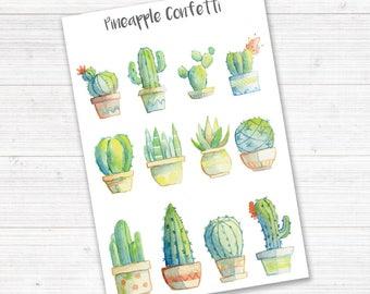Bullet Journal Stickers Succulent Cactus, Planner Stickers, Planner Stickers, Cactus Stickers, Filofax, Happy Planner, Erin Condren, TN