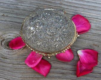 Floral Silver Trinket, Jewelry Box, Japan