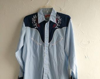 Vintage Ely Plains California 1970's Blue Western Shirt Button-Up Blue Western Shirt Lumberjack Northwest Rustic Vintage White Blue