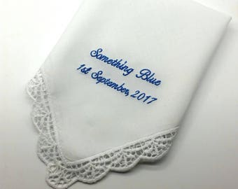 Something Blue for the Bride to carry on her Wedding Day- Handkerchief with Lace Edge