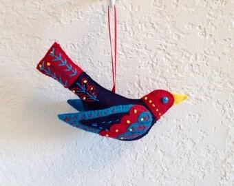 Handmade Felt Bird Ornament, Christmas Tree Ornament, Christmas Tree Bird Ornament, Handmade Felt Ornament, Handmade Christmas Ornament
