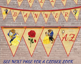 Beauty and the Beast Banner / INSTANT DOWNLOAD EDITABLE / Beauty and the Beast Party / Belle Party / Printable
