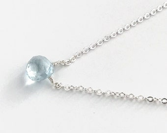 Aquamarine - Aquamarine Necklace -  Dainty Necklace - Gemstone Necklace - Gift for Her - Silver Necklace - Necklaces for Women