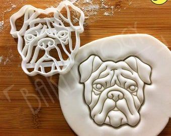 Bulldog's Face cookie cutter | English bulldog biscuit cutter | bull dog fondant cutter |clay cheese cutter | one of a kind ooak | Bakerlogy