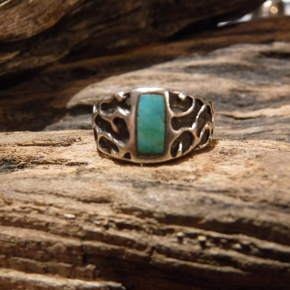 Navajo Native American Silver Turquoise Ring Weight 4.4 Grams Size 6.75 Turquoise Inlay Sterling Silver Ring Native American Sterling Rings