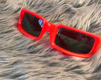 Vintage 1960s Style Eyes Italy Sunglasses Neon Orange Pink Plastic Translucent Retro Futuristic Rectangle Frames