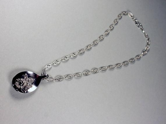 Silver Spoon Pendant Necklace, Handmade, Filigree Chain, Rhinestones, Black Bead
