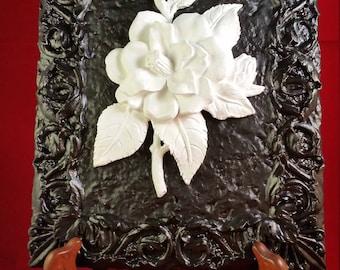 Black/White Camellia Plaque