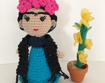 Frida Doll, Frida Kahlo, Amigurumi Doll, handmade doll, Crochet doll, Frida amigurumi doll, Frida crochet doll