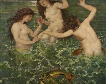 "Hans Thoma ""Three Mermaids"" 1879  Reproduction Digital Print Home Decor Mermaids Mystical Aquatic Creatures Wall Hanging"