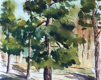 Watercolor landscape, original watercolor painting, city park painting, landscape painting, home decor, fine art