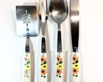 Ecko Utensil Set Kitchen Utensils Stainless Steel Orange Floral Country Garden Spatula Meat Fork Serving Spoon Icing Spreader Made in USA