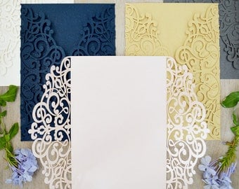 DIY Laser Cut Gatefold Invitation - More Colors Available - Laser Cut Invites for Wedding, Sweet Sixteen, Quinceanera, Birthday