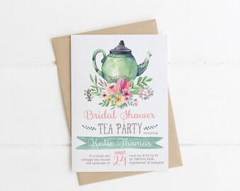 Tea Party Bridal Shower Invitations, Wedding Shower Invite Printable, Tea Pot, Florals, Watercolor, Bride Luncheon, Fall Bridal Shower