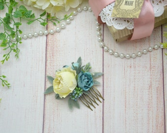 Gift/for/her Blue ivory flower comb Wedding hair style Bridal hair piece Bridesmaid flower comb Spring wedding comb Rustic flower comb blue