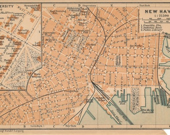 1904 New Haven, Connecticut, and Yale University Antique Map