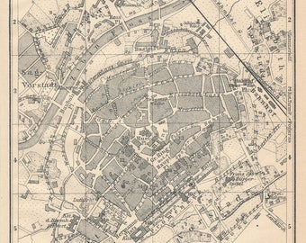 1905 Sibiu Romania Antique Map
