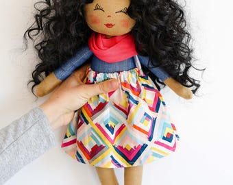 Dark skin doll, dolls, rag doll, cloth doll, black hair, curly hair , denim outfit, birthday gift, girl gift