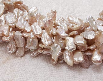 Freshwater Natural Peach Pearl, Keshi pearls, Top Side-Drilled holes 10-12 x 12-14 mm., Wholesale Peach Pearl Beads, Natural Color Pearl