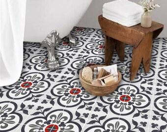 Vinyl Floor Tile Sticker - Floor decals - Corona Hand Painted Tile Sticker Pack in Ink Navy