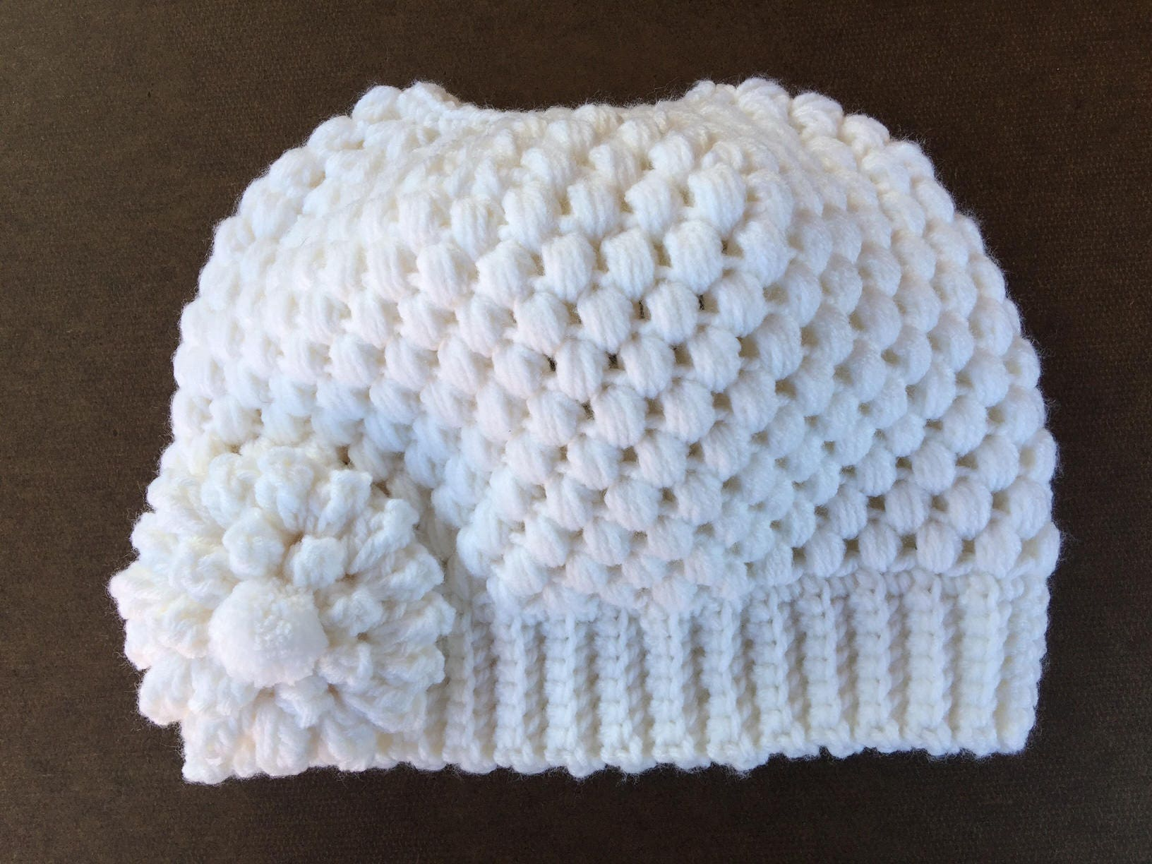 2f45ccba81a READY TO SHIP Messy Bun Hat White Crochet Knit Hat Beanie