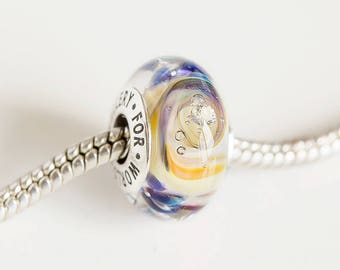 Cubic zirconia bead. Lampwork Glass bead. Silver cored bead. Big hole bead, Fits Pandora. European Bracelet charms. Murano glass beads