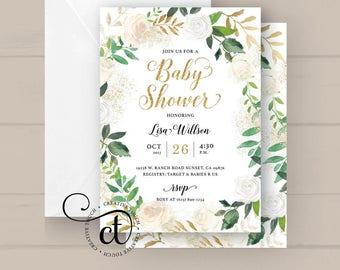 Baby Shower Invitation, Baby Shower Invite, White Roses Gold Glitter Green Botanical Greenery floral, Flowers, Floral Baby Shower Invitation