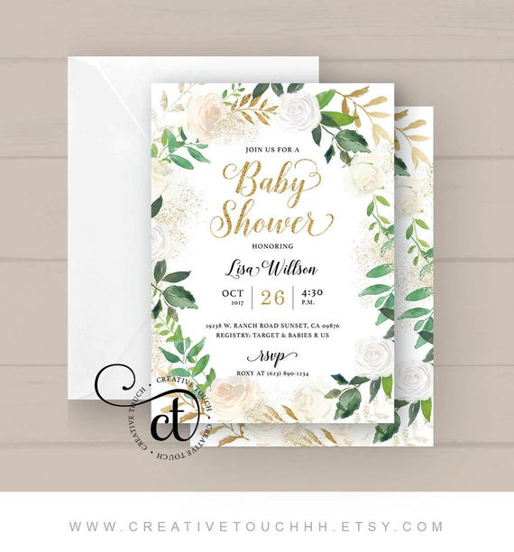 Baby shower invitation baby shower invite white roses gold glitter il570xn filmwisefo