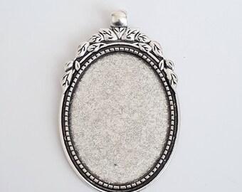 Large oval pendant etsy 1pc oval pendant tray large bezel setting antique silver cabochon settings bezel aloadofball Images