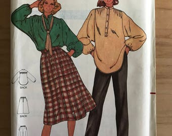 Butterick 6364 - 1980s Very Loose Fitting Blouse with Band Collar and Button Placket, Knee Length Skirt and Pants - Size 14 Bust 36