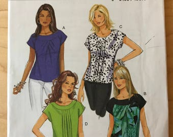 Butterick B5610 - Yoke or Banded Collar Top with Extended Shoulders and Front Pleat Detail - Size 10 12 14 16 18
