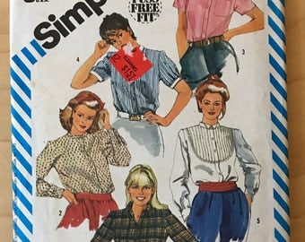 Simplicity 6371 - 1980s Fuss Free Fit Button Front Blouse with Yoke, Pointed and Band Collar Options - Size 16 Bust 38