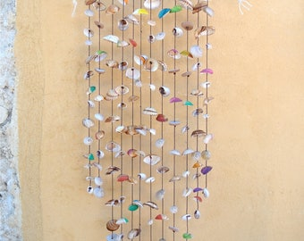 Colorful Sea Shell Wind Chime, Patio Decor, Nautical Decor, Suncatcher, Wind Chime, Outdoor Decor, Shell Decor