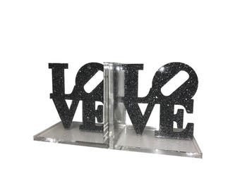 Love Acrylic Lucite Bookends