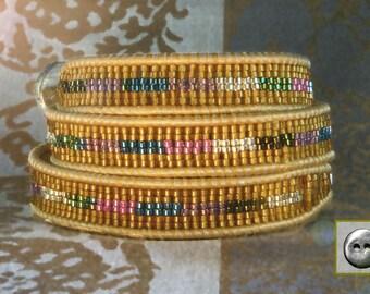 Leather Wrap Bracelet, Miyuki Seed Beads, Wraps 3x, Woven Rows of Beads, Metallic Gold Leather, Handmade, Pewter Button, Woven Pattern