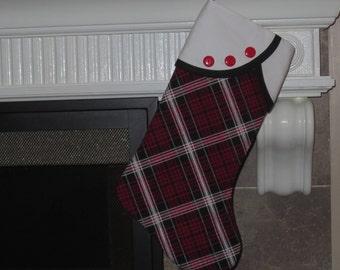 Christmas Stocking, Plaid Christmas Stocking, Red Plaid Christmas Stocking, Red and Black Plaid Christmas Stocking