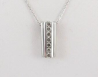 "14k White Gold Diamond Pendant Necklace 16"" 0.30 carat"