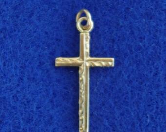 10k Textured Gold Cross