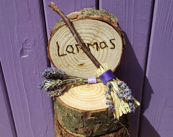 Lammas Sign, Besom Broom, Lavender Broomstick, Pagan Altar, Wiccan Home Decor, Lughnasadh Harvest, Celtic Festival, Wheel of the Year