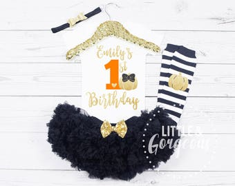1st Birthday Pumpkin Onesie, Baby Girls First Birthday Onesie, Personalized First Birthday Pumpkin Outfit, Fall 1st Birthday Outfit