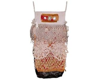 Small Crossbody Bag Festival Accessories Boho Gypsy Bag Bohemian Purse Fringe Purse Fabric Handbag Stevie Nicks Magnolia Pearl Inspired