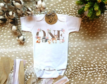 First Birthday Onesie,1st Birthday Outfit,Baby Girl First Birthday,Woodland Birthday Onesie,Floral Birthday,Fox Birthday Onesie,Bodysuit