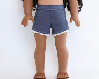 18 inch Doll Designer Denim Shorts made to fit like American Girl doll clothes