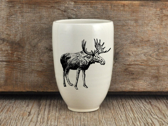 Handmade Porcelain beer tumbler with moose drawing Canadian Wildlife collection